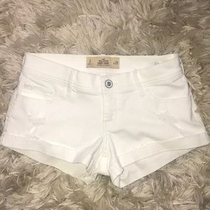 Hollister Distressed White Shorts